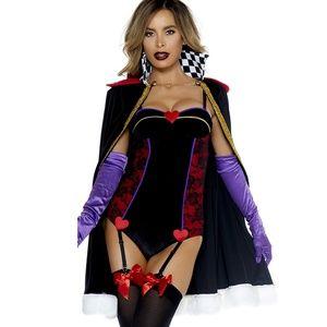 Queen of Hearts Costume Velvet Bodysuit Cape 3PC